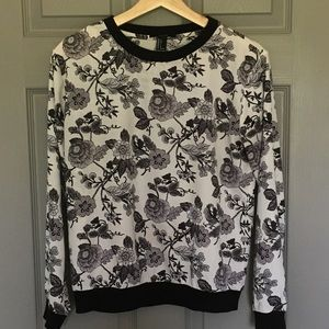 Graphic Floral Sheer Sweatshirt S
